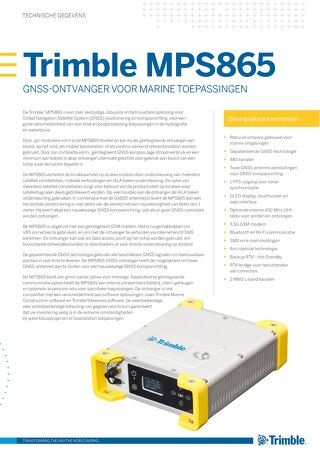 Trimble MPS865 Marine Positioning System GNSS Receiver Datasheet - Dutch
