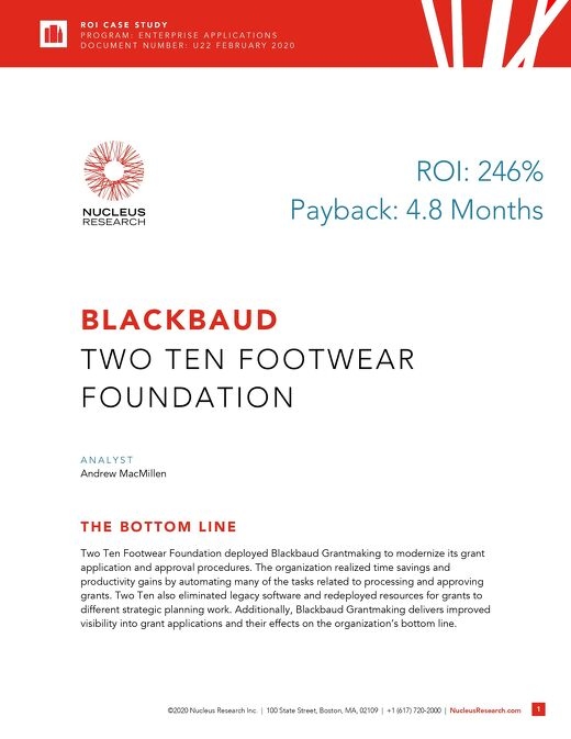 ROI Case Study: Two Ten Footwear Foundation