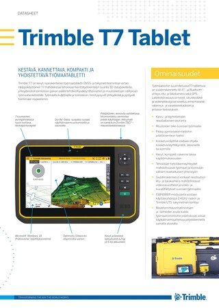 Trimble T7 Tablet Datasheet - Finnish