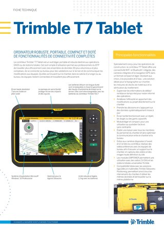 Trimble T7 Tablet Datasheet - French