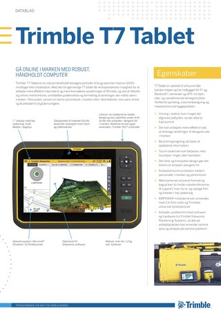 Trimble T7 Tablet Datasheet - Danish