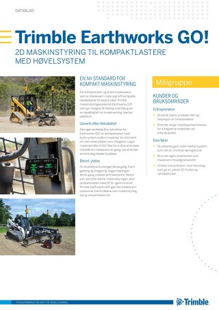 Trimble Earthworks GO! Datasheet - Norwegian