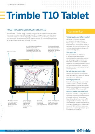 Trimble T10 Tablet Datasheet - Dutch