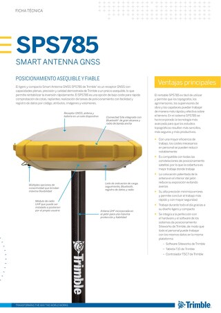 Trimble SPS785 GNSS Smart Antenna Datasheet - Spanish