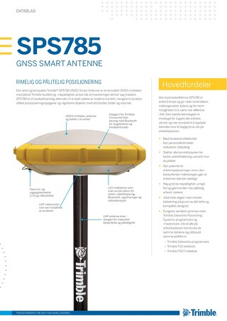 Trimble SPS785 GNSS Smart Antenna Datasheet - Norwegian