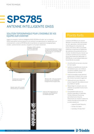 Trimble SPS785 GNSS Smart Antenna Datasheet - French