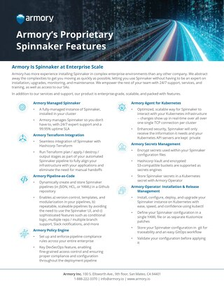 Armory Spinnaker Exclusive Features