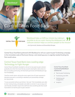 Central Texas Food Bank Success Story