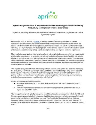 Aprimo and gateB Partner to Help Brands Optimize Technology to Increase Marketing Productivity and Improve Customer Experiences