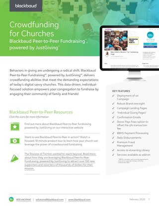 Blackbaud Peer-to-Peer Fundraising Datasheet for Churches