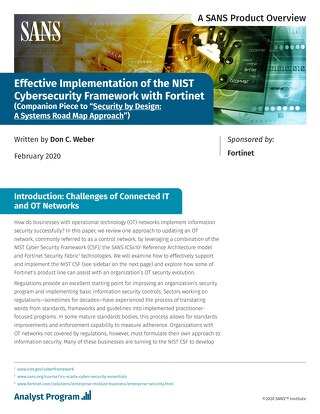 Effective Implementation of the NIST Cybersecurity Framework with Fortinet
