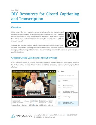 DIY Resources for Closed Captioning and Transcription