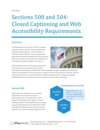 Sections 508 and 504: Closed Captioning and Web Accessibility Requirements