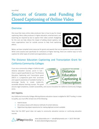 Sources of Grants and Funding for Closed Captioning of Online Video