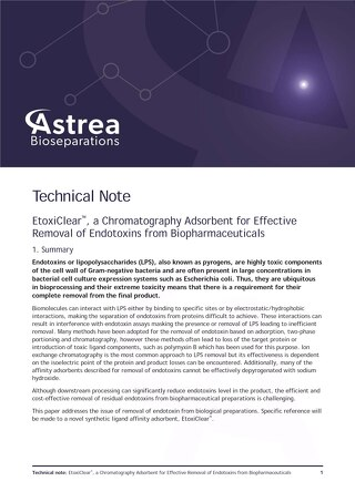 EtoxiClear™, a Chromatography Adsorbent for Effective Removal of Endotoxins from Biopharmaceuticals