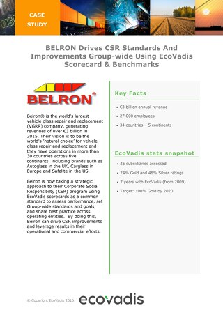 Belron Uses EcoVadis to Assess CSR Performance at Group Level