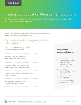 [Datasheet] Blackbaud's Education Management Solutions for Higher Ed