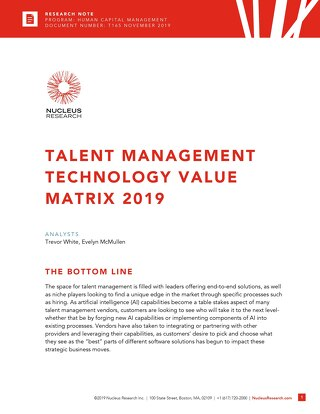Nucleus Talent Management Technology Value Matrix 2019