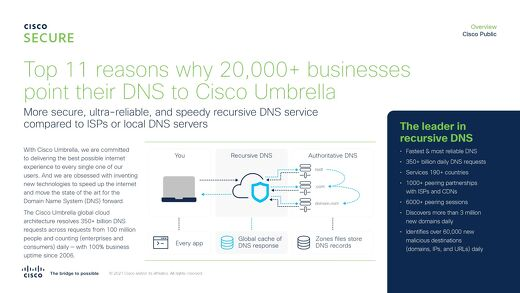 Top 11 reasons why 22,000+ businesses point their DNS to Cisco Umbrella