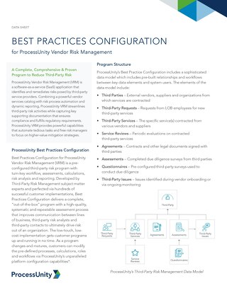 Best Practices Configuration for ProcessUnity Vendor Risk Management