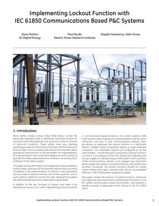 Case Study: Implementing Lockout Function with IEC 61850 Communications Based P&C Systems