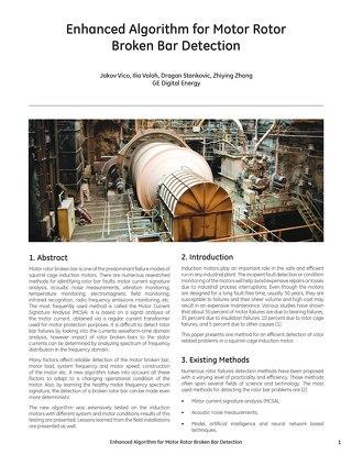 Case study: Enhanced Algorithm for Motor Rotor Broken Bar Detection