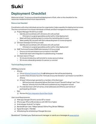 Suki Deployment Checklist