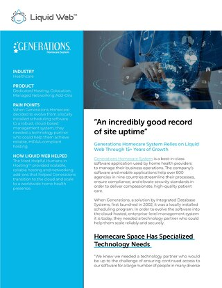 """An incredibly good record of site uptime"" - Generations Homecare Case Study"