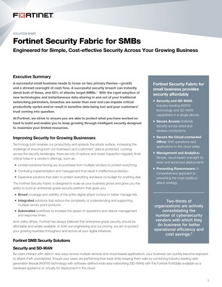 Fortinet Security Fabric for SMBs