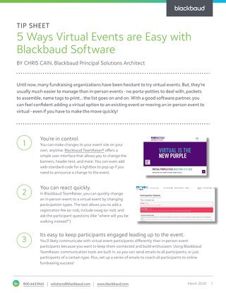 Tip sheet: 5 Ways Virtual Events are Easy with Blackbaud