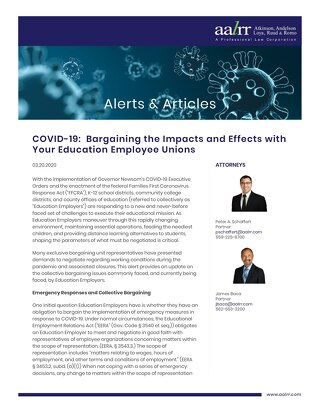 COVID-19: Bargaining the Impacts and Effects with Your Education Employee Unions