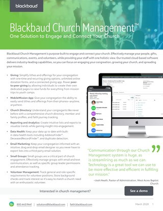 Church Management Datasheet