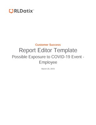 COVID-19 Possible Exposure to COVID-19 Events - Employee
