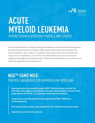 Acute Myeloid Leukemia: Patient-Derived Xenograft Models and Studies