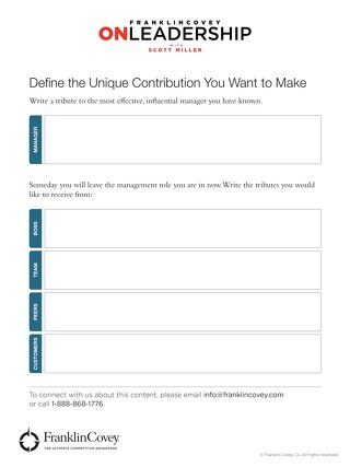 The 7 Habits Coach: Define Your Unique Contribution Tool
