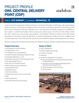 XTO OWL CDPs Construction Management & Commissioning
