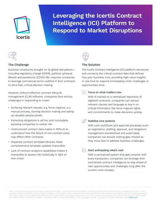 Leveraging ICM to Address Market Disruption