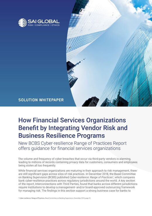 How Financial Services Benefits by Integrating Vendor Risk and Business Resilience Programs