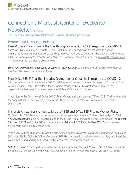 Connection's Microsoft Center of Excellence Newsletter-April 2020