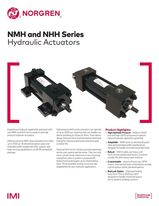 NMH and NHH Hydraulic Actuators Flyer