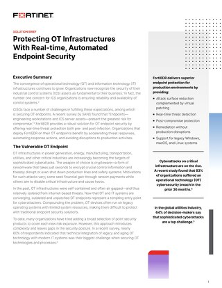 Protecting OT Infrastructures with Real-time, Automated Endpoint Security