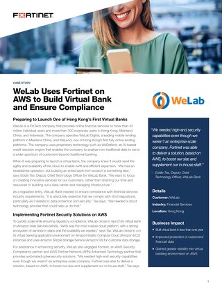 WeLab Uses Fortinet on AWS to Build Virtual Bank and Ensure Compliance