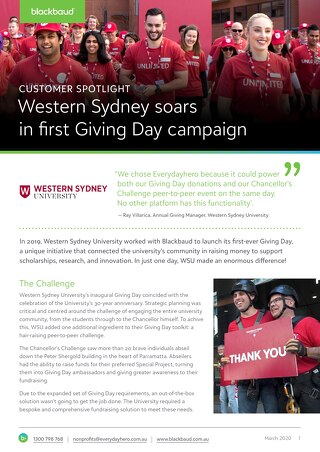 Customer Spotlight: Western Sydney University Giving Day 2019