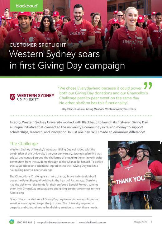 Customer Spotlight: Western Sydney University Giving Day 2019
