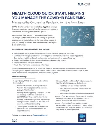 COVID-19 Contingency Plan One-Pager