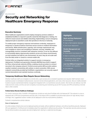Security and Networking for Healthcare Emergency Response