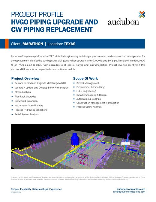 AE - HVGO Piping Upgrade and CW Piping Replacement - Project Profile