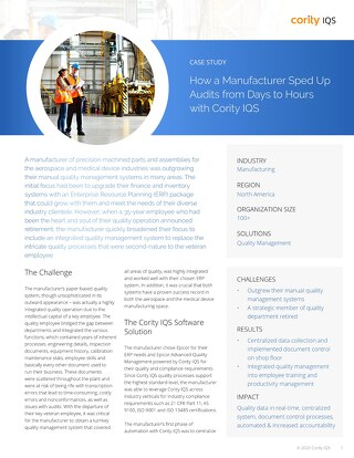 Precision Manufacturer Case Study