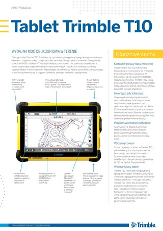 Trimble T10 Tablet Datasheet - Polish