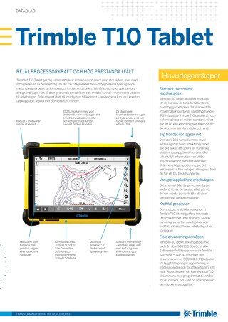 Trimble T10 Tablet Datasheet - Swedish